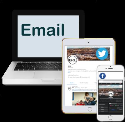 Laptop. iPad showing Twitter. Mobile showing Facebook.