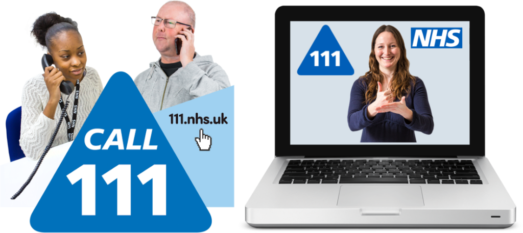 Person calling NHS 111 helpline. Computer showing NHS Sign Language Interpreter.